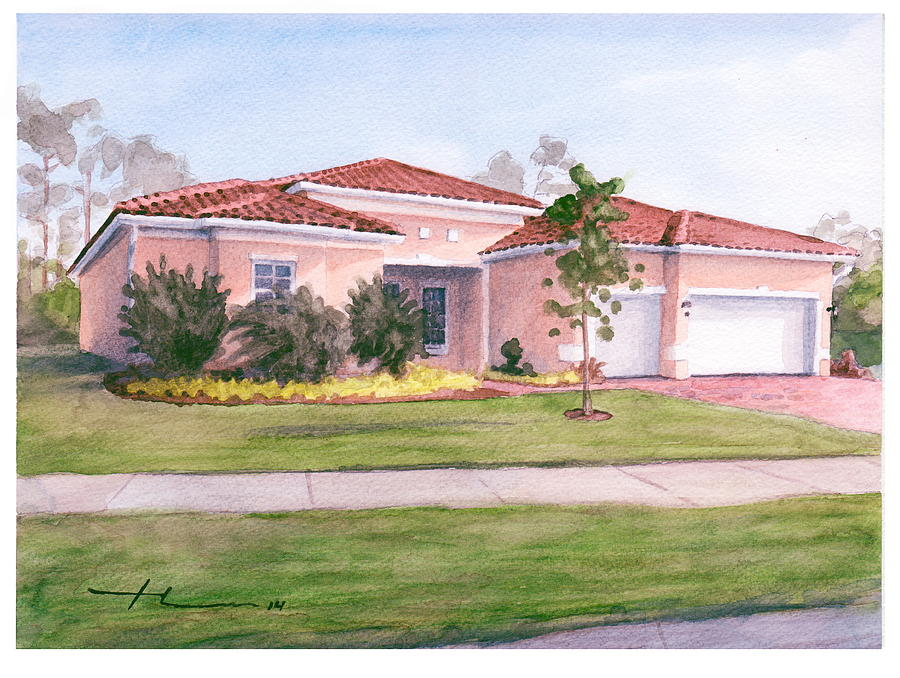 Florida House Watercolor Portrait Drawing by Mike Theuer