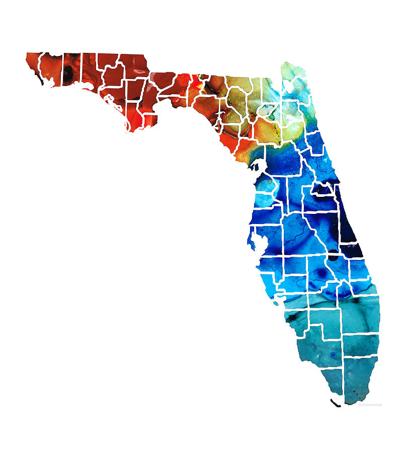 Florida Painting - Florida - Map by Counties Sharon Cummings Art by Sharon Cummings
