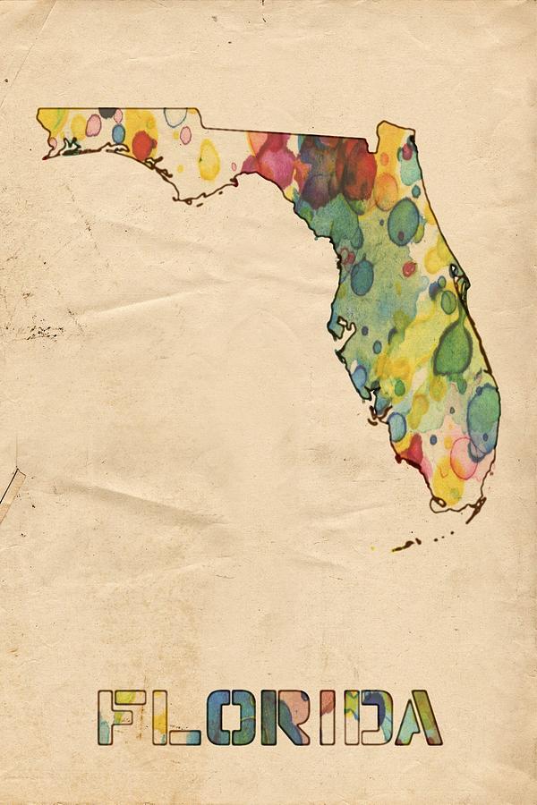 Watercolor Florida Map.Florida Map Vintage Watercolor Painting By Florian Rodarte
