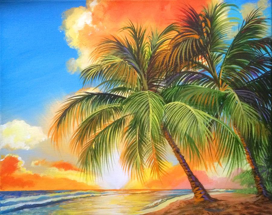 Florida Palm Sunset Painting by Robert Korhonen
