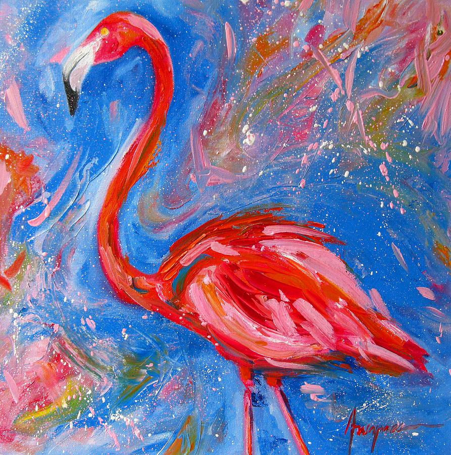 Florida Pink Flamingo Modern Impressionist Art Painting
