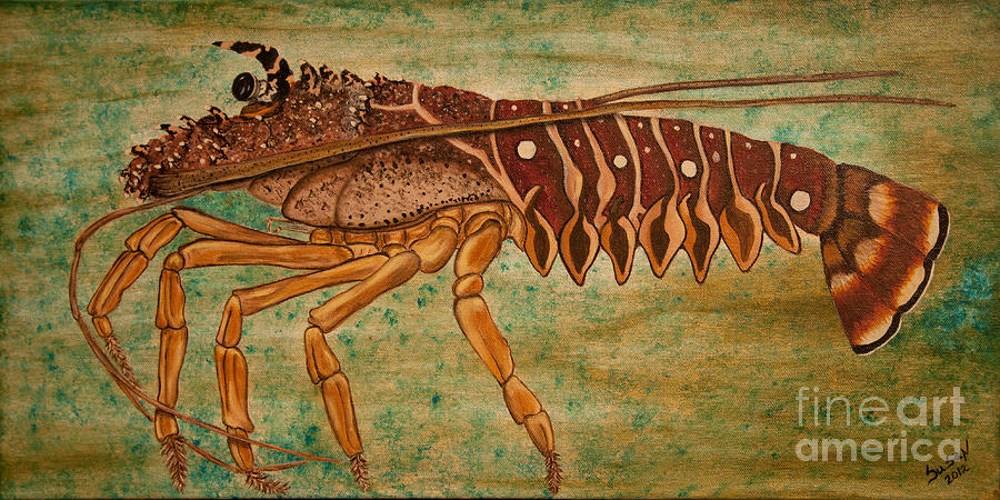 Lobster Painting - Florida Spiny Lobster by Susan Cliett