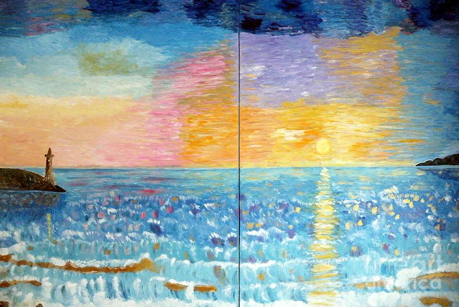 Sea Painting - Florida Sunset by Vicky Tarcau