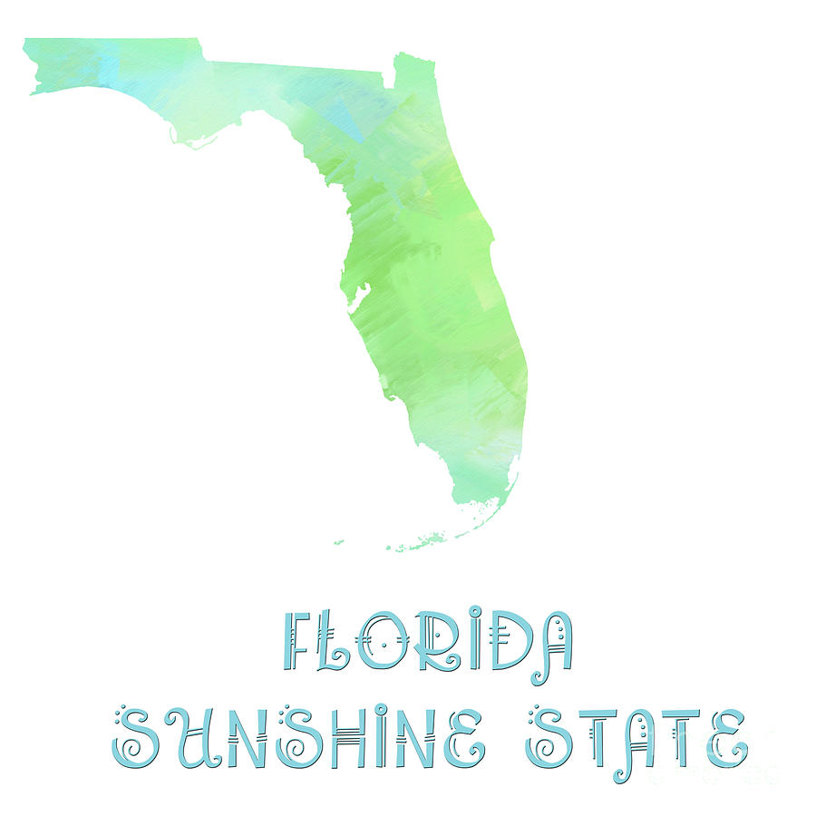 Florida Digital Art - Florida - Sunshine State - Map - State Phrase - Geology by Andee Design
