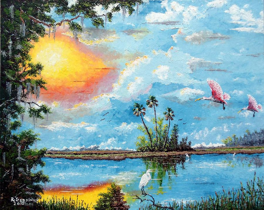 Florida Landscape Painting - Florida Wilderness Oil Using Knife by Riley Geddings