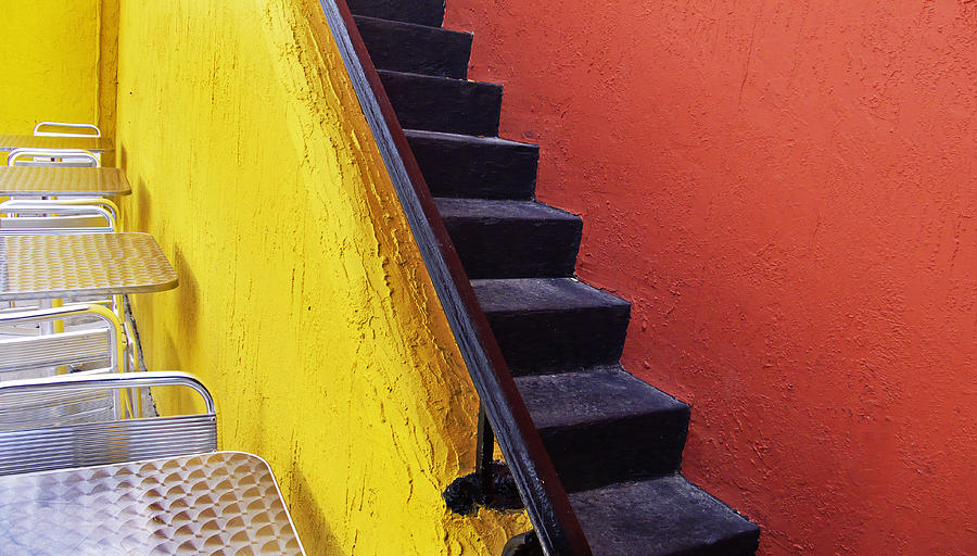 Florida Yellow And Orange Wall Stairs Photograph By Andy Mars