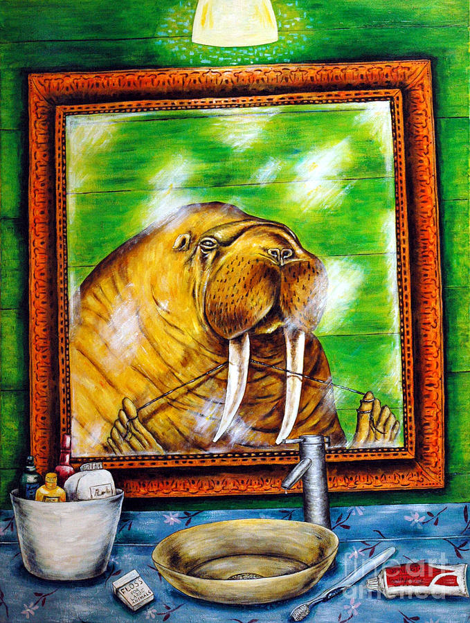 Walrus Painting - Flossing In The Bathroom by Jay  Schmetz