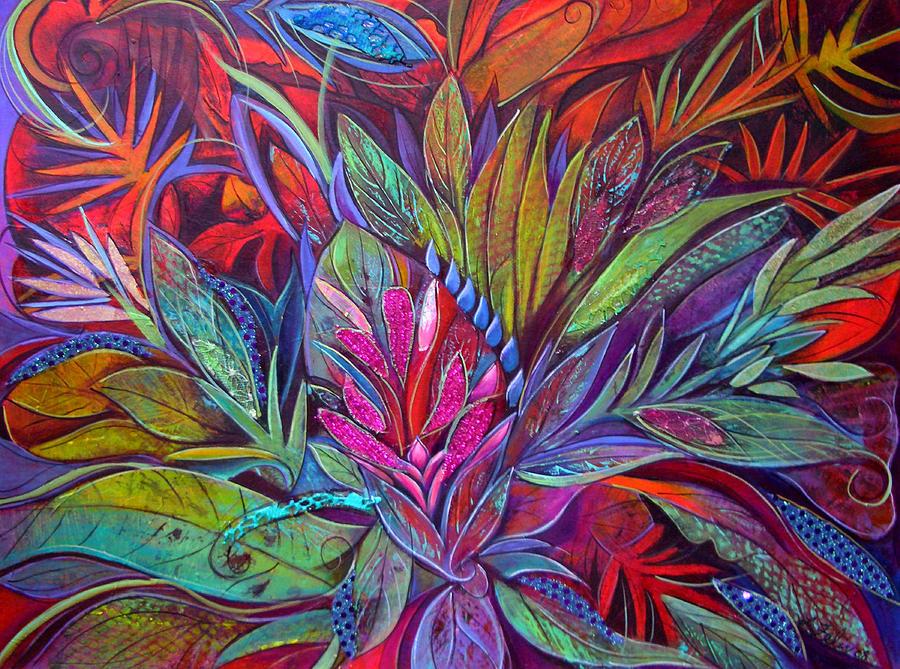 Acrylic Collage Painting - Flourishing Wisdom by Lori Felix