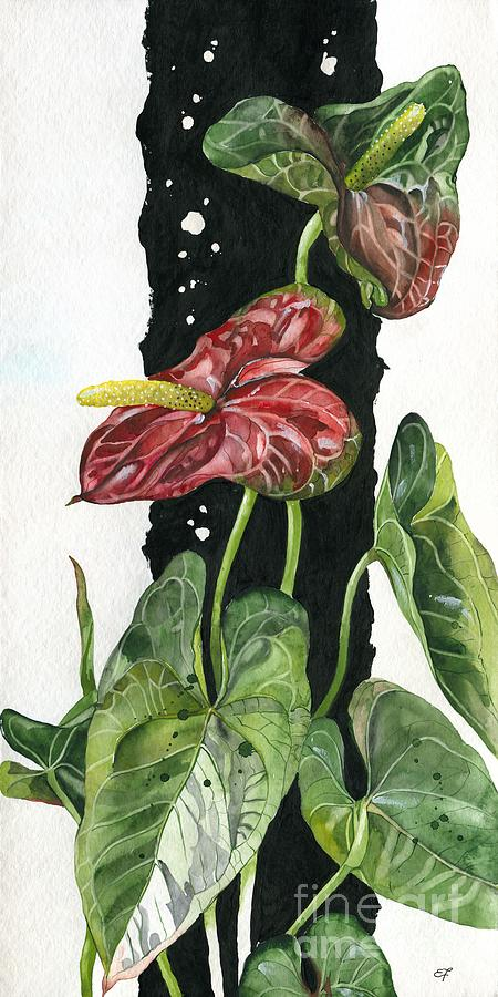 Anthurium Painting - Flower Anthurium 01 Elena Yakubovich by Elena Yakubovich