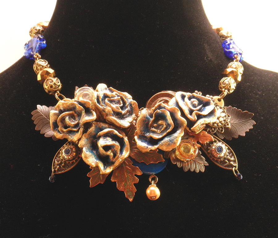Flower Art Necklace with Vintage Charms and Venetian Glass by Outre Art  Natalie Eisen