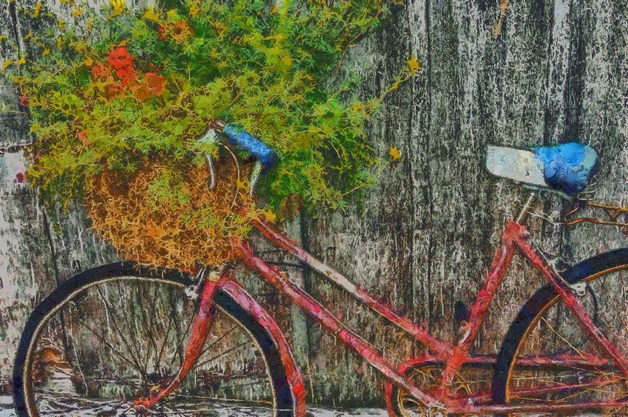 Bike Digital Art - Flower Basket On A Bike by Mark Kiver