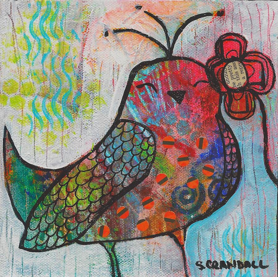 Flower Bird Mixed Media