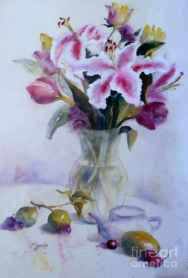 Flower Bouquet With Teapot And Fruit Painting by Carolyn Jarvis