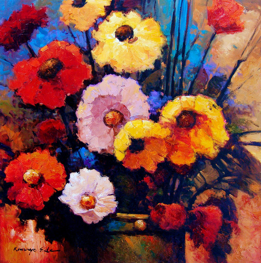 Flower Bucket Colorful Red Yellow And Pink Flowers Painting By