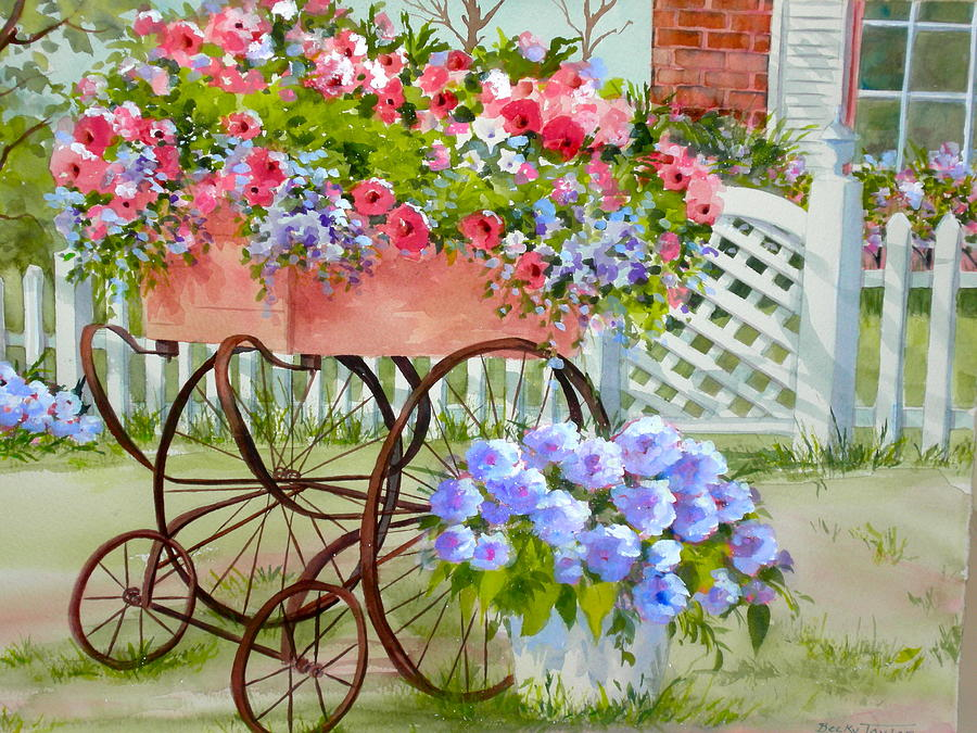 Landscape Painting - Flower Cart by Becky Taylor