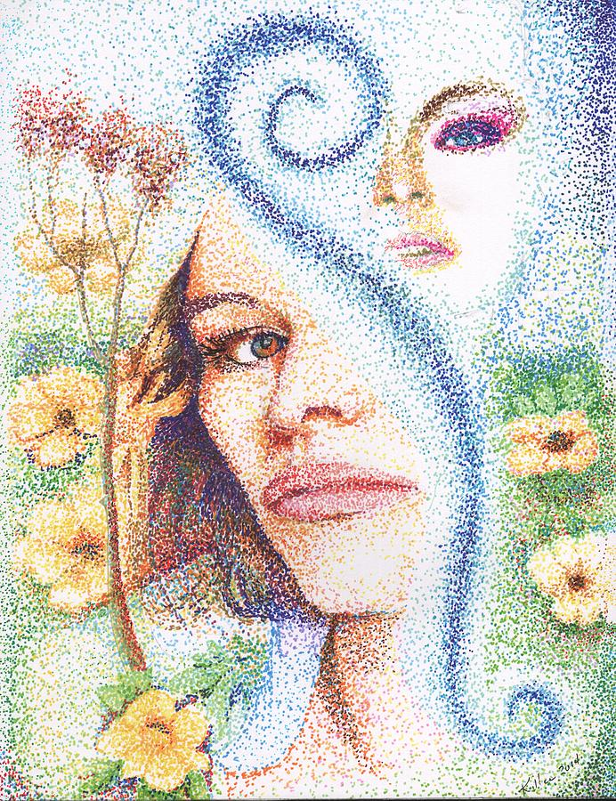 Pen Ink Paper Flower Landscape Abstract Portrait Women Woman Female Red Yellow Blue Green Nature Garden Pointillist Stipple Painting - Flower Children by William Killen