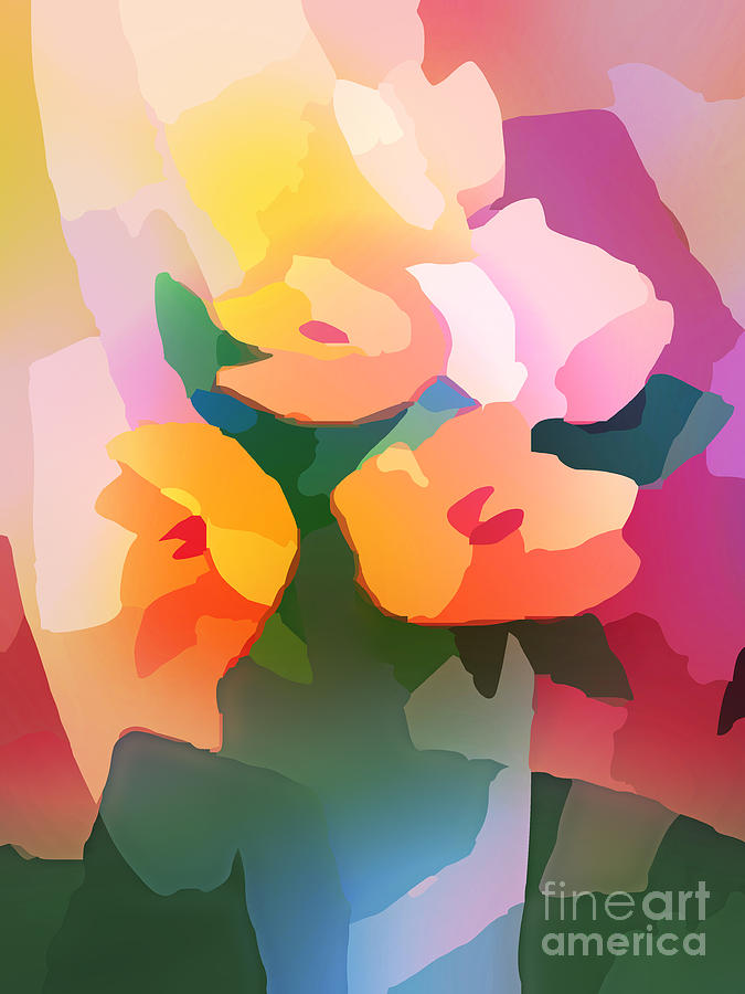 Colorful Digital Art - Flower Deco II by Lutz Baar