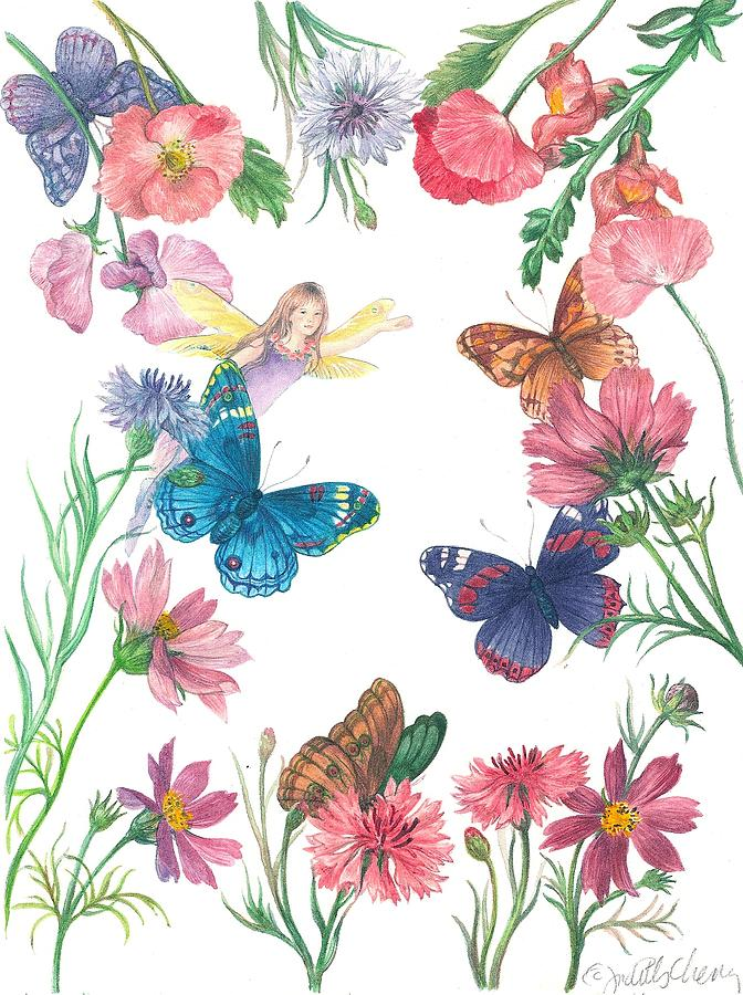 Flower Fairy Illustrated Butterfly Painting by Judith Cheng