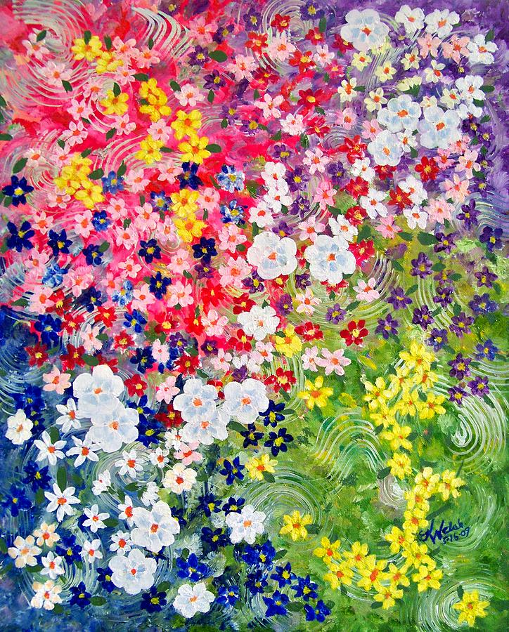 Simple flower garden paintings large painting of flower for Simple flower garden
