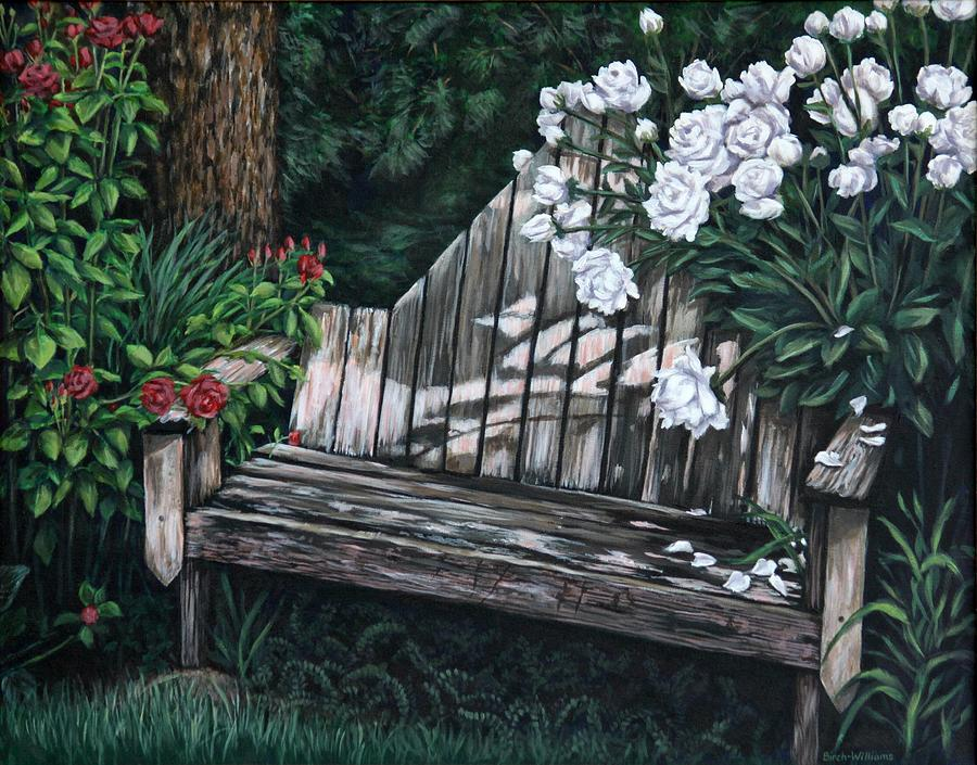 Flowers Painting - Flower Garden Seat by Penny Birch-Williams