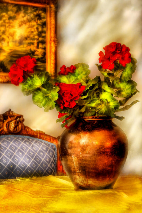 Savad Photograph - Flower - Geraniums On A Table  by Mike Savad