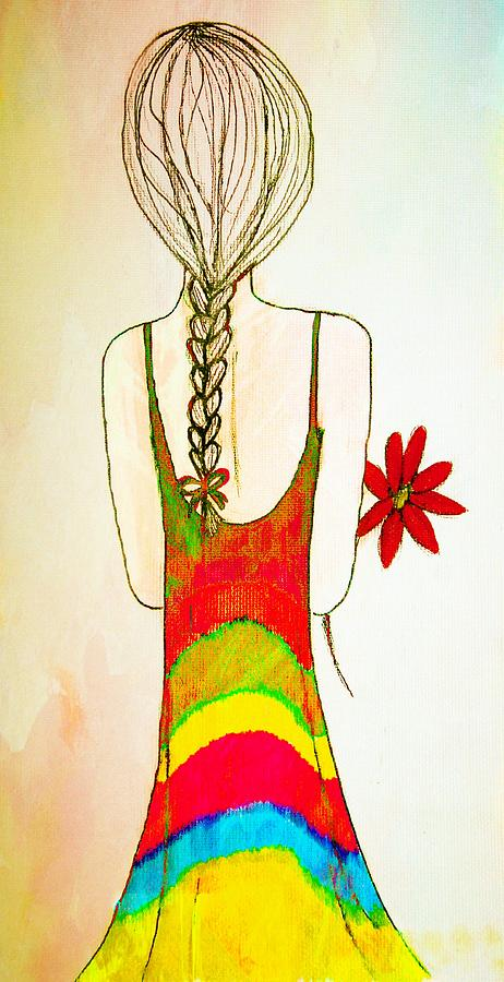 Girl Drawing - Flower Girl by Anne Costello