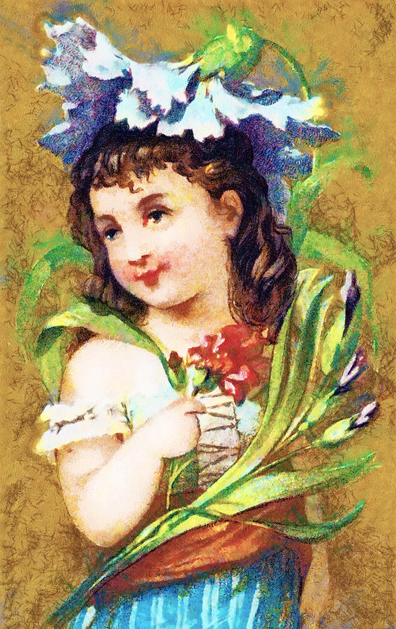Vintage Trading Cards Digital Art - Flower Girl by Vintage Trading Cards