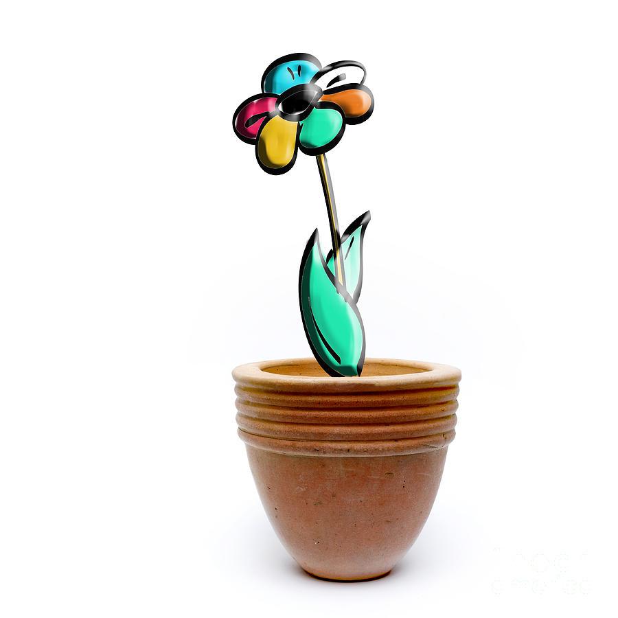 Pot Photograph - Flower In A Pot. Concept by Bernard Jaubert