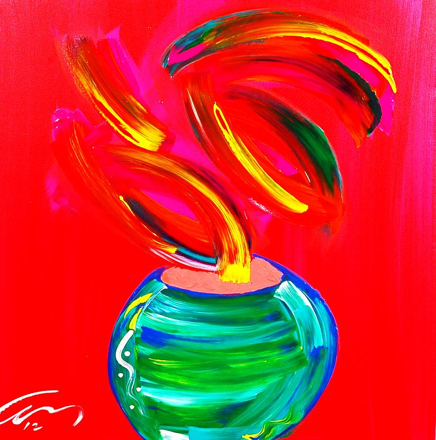 Painted Painting - Flower In A Pot by Mac Worthington