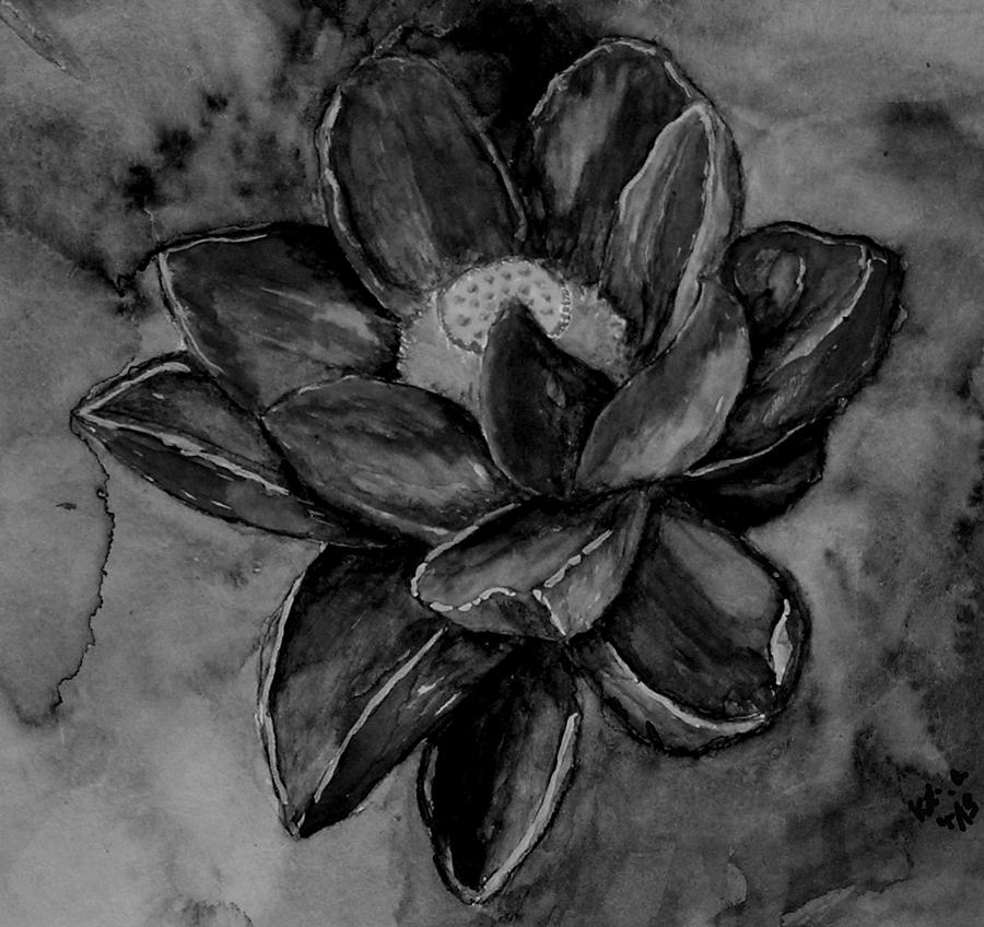 Flower In Black And White Painting by Kathy Carothers