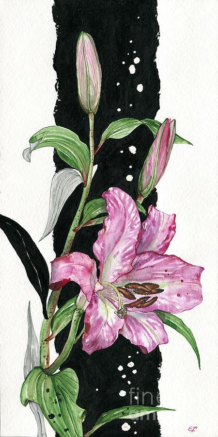 Flower Painting - Flower Lily 02 Elena Yakubovich by Elena Yakubovich