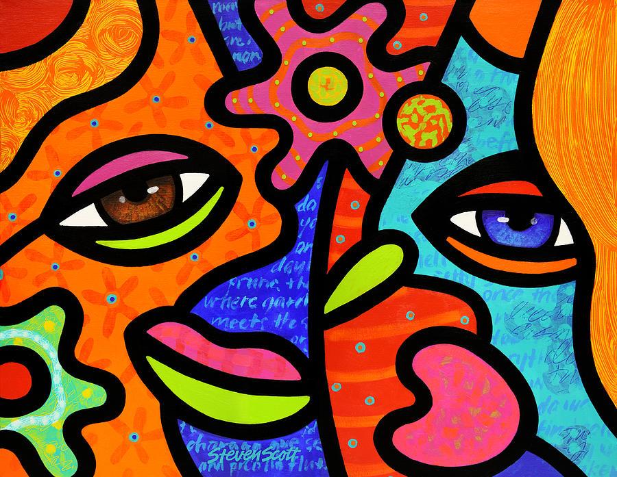 Eyes Painting - Flower Market by Steven Scott