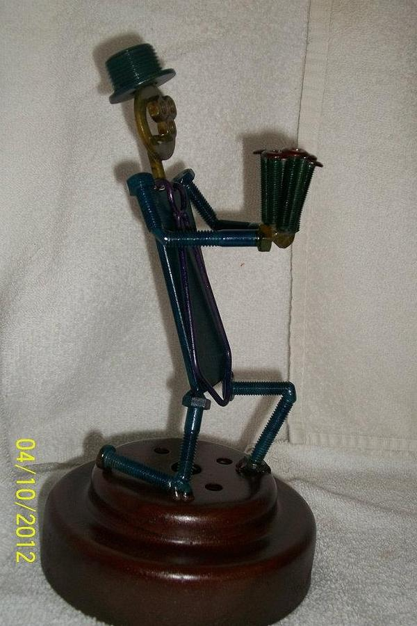 Man Sculpture - Flower Nuts N Bolts Guy by Donald Swartout