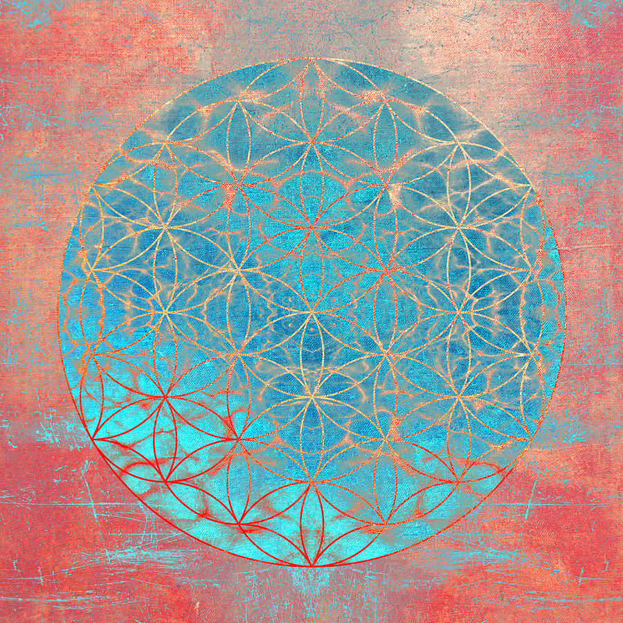 Flower Of Life Aqua Orange Digital Art By Filippo B
