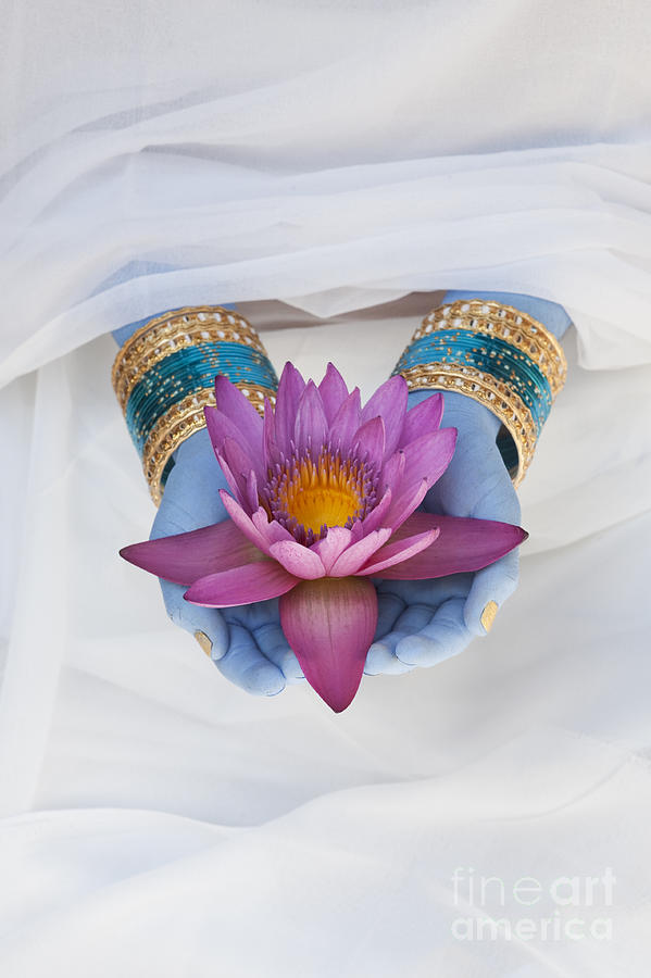 Indian Girl Photograph - Flower Offering by Tim Gainey
