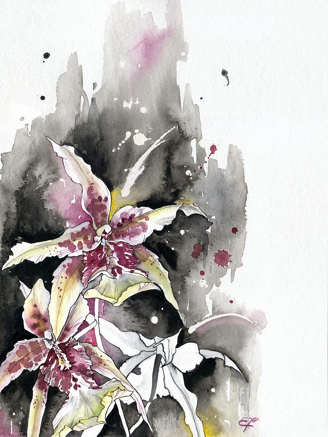 Orchid Painting - Flower Orchid 12 Elena Yakubovich by Elena Yakubovich