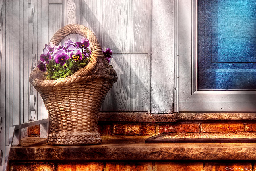 Savad Photograph - Flower - Pansy - Basket Of Flowers by Mike Savad