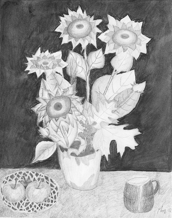 Flower Drawing - Flower Pot on Table by Manny M