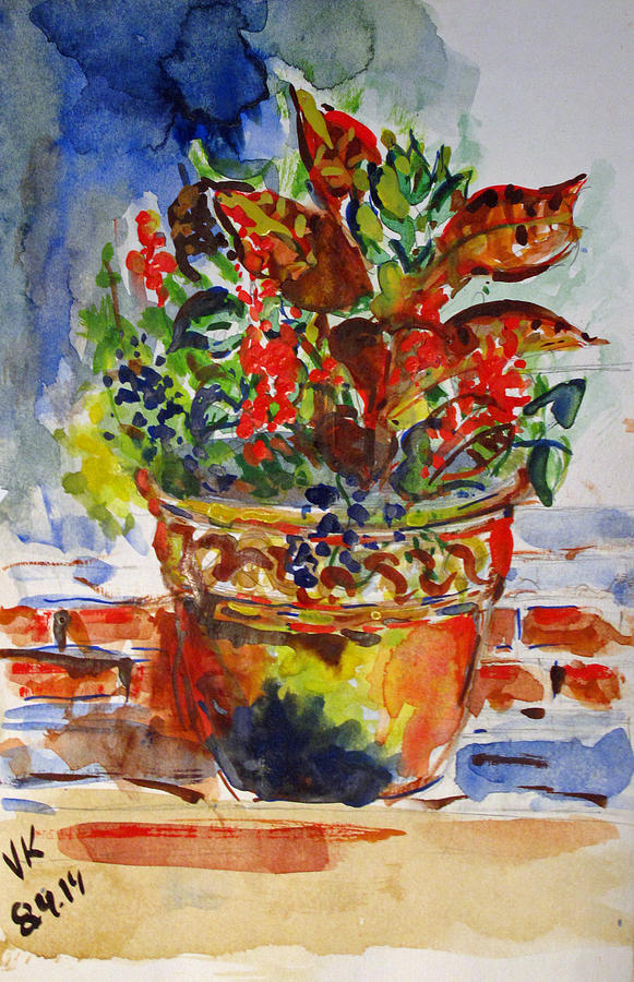 Watercolor Painting - Flower Pot by Vladimir Kezerashvili