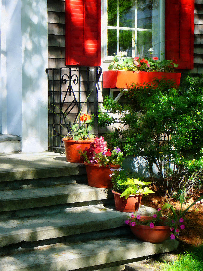Dappled Sunlight Photograph - Flower Pots And Red Shutters by Susan Savad