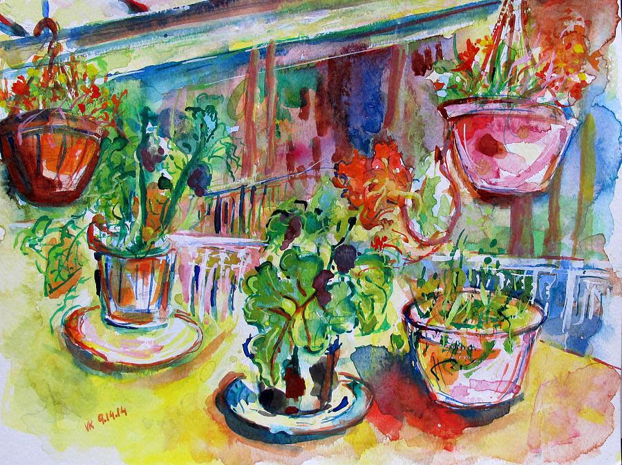 Still Life Painting - Flower Pots  by Vladimir Kezerashvili