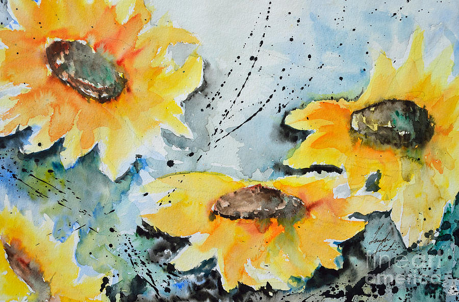 Summer Flowers Painting - Flower Power- Floral Painting by Ismeta Gruenwald