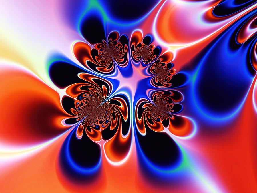 Abstract Digital Art - Flower Power by Ian Mitchell