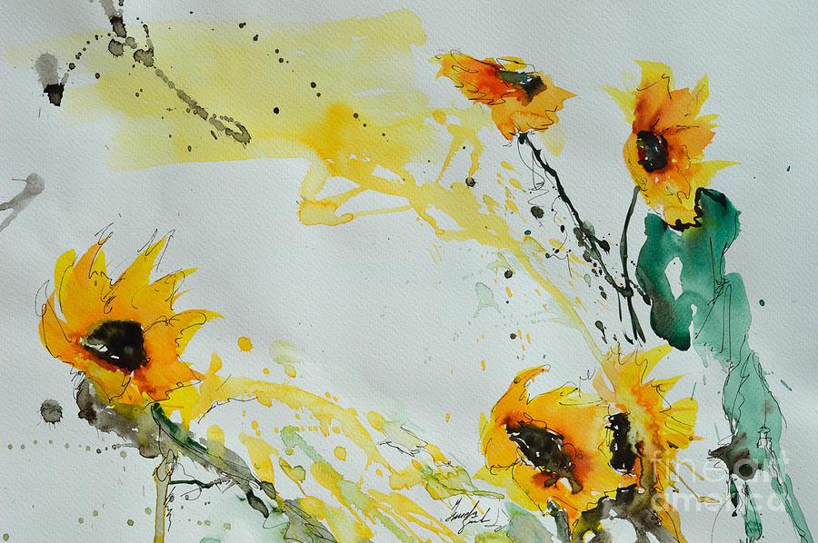 Sunflowers Painting - Flower Power- Sunflower by Ismeta Gruenwald