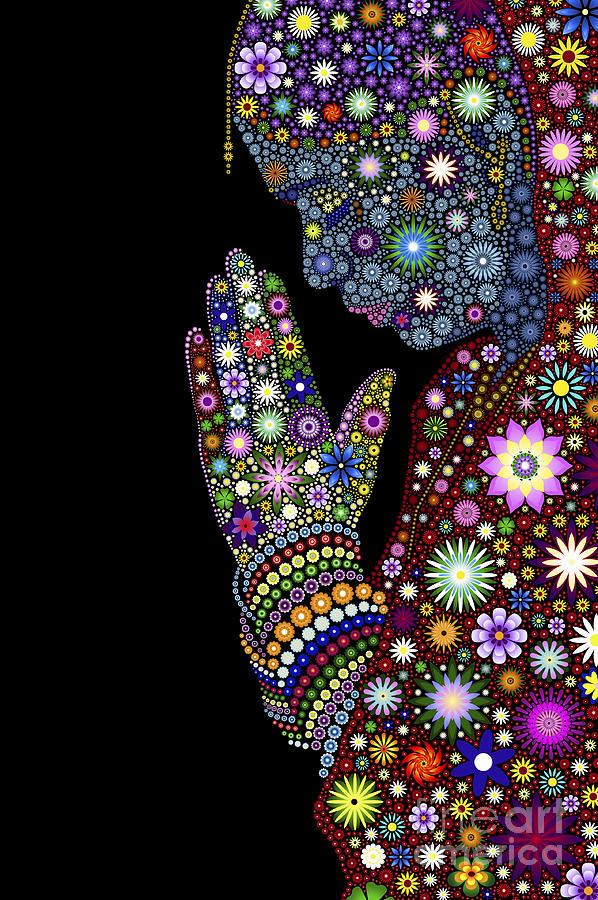 Flower Digital Art - Flower Prayer Girl by Tim Gainey