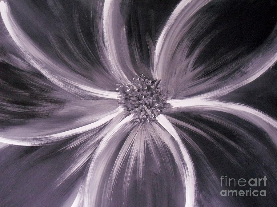 Black Painting - Flower Romance by LCS Art