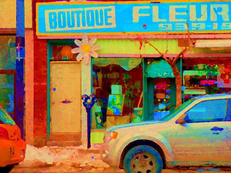 Montreal Painting - Flower Shop St Henri Boutique Fleuriste Window Notre Dame Ouest Montreal City Scene Carole Spandau by Carole Spandau