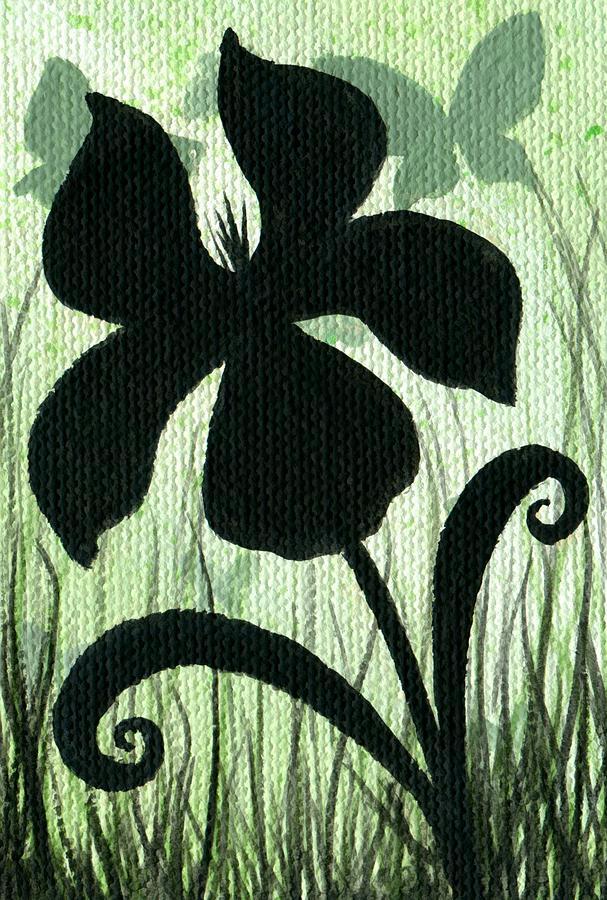 Fantasy Flower Painting - Flower Silhouette 10 by Elaina  Wagner
