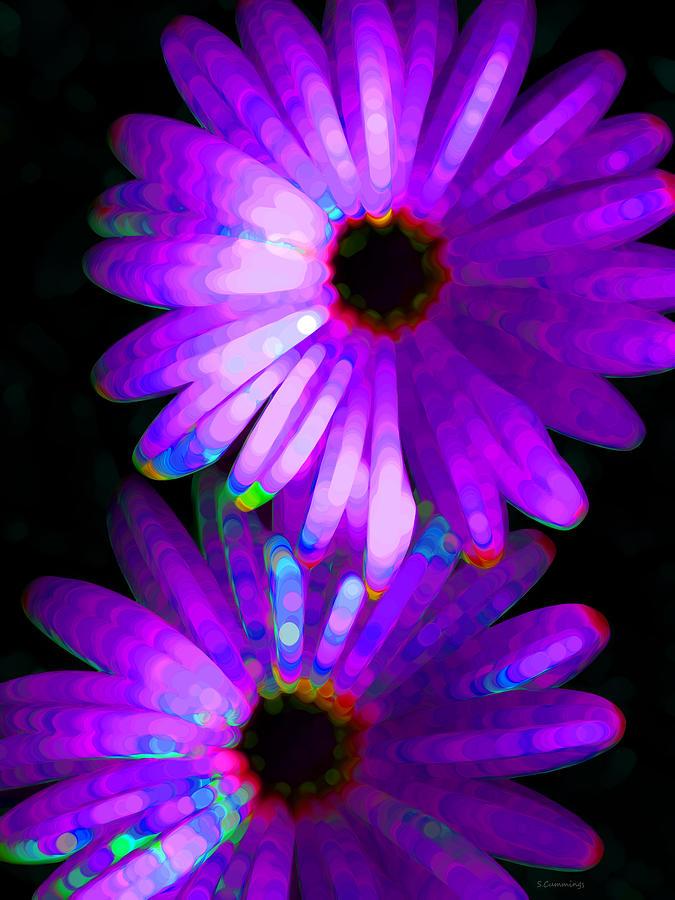 Neon Painting - Flower Study 6 - Vibrant Purple By Sharon Cummings by Sharon Cummings