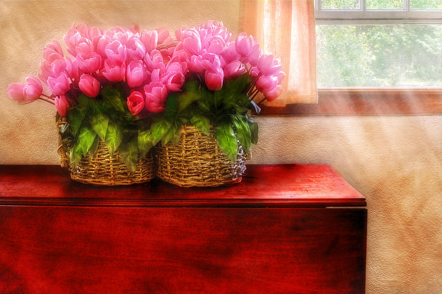 Savad Photograph - Flower - Tulips By A Window by Mike Savad